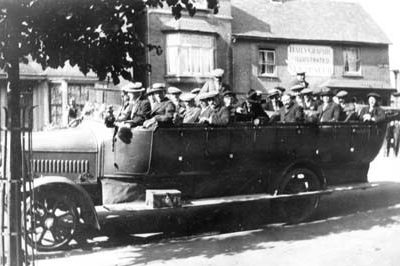 A group of villagers on a charabanc trip - Click to open full size image